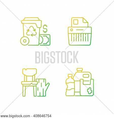 Managing Waste Gradient Linear Vector Icons Set. Waste Management Cost. Paper Shredding. Wood Produc