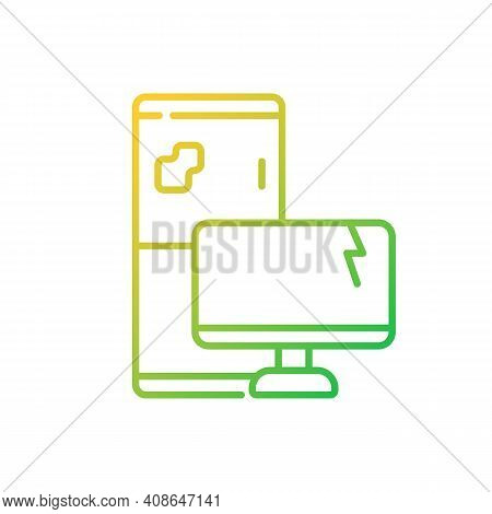 Electronic Waste Gradient Linear Vector Icon. E-waste. Discarded Electrical And Electronic Devices.