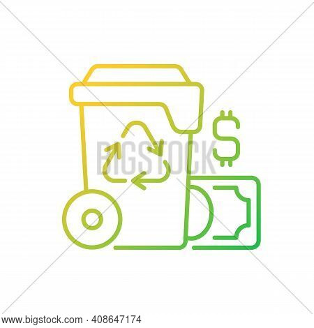 Waste Management Cost Gradient Linear Vector Icon. Recycling Waste Costs. Source Reduction. Financin