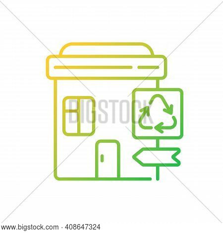 Recycling Collection Center Gradient Linear Vector Icon. Landfill And Material Recovery Facility. Dr