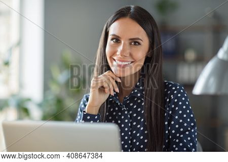 Photo Of Happy Brunette Haired Business Woman Sit Office Laptop Job Good Mood Chief Indoors In Workp