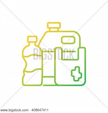 Plastic Waste Gradient Linear Vector Icon. Plastic Pollution. Synthetic And Semi-synthetic Materials