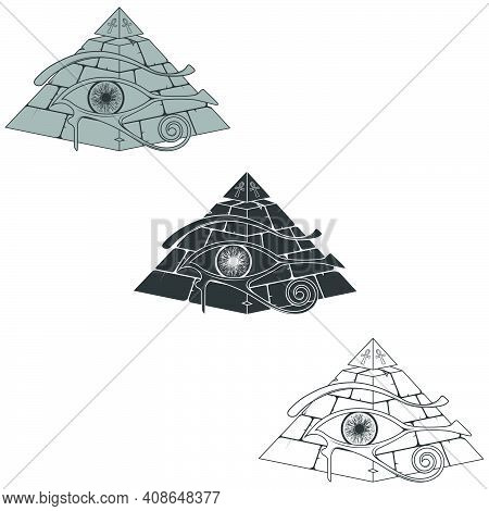 Vector Design Of Egyptian Pyramid Silhouette, Pyramid Of The Ancient With 3d Eye Of Horus, Ancient E