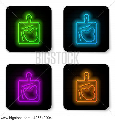Glowing Neon Line Cutting Board Icon Isolated On White Background. Chopping Board Symbol. Black Squa