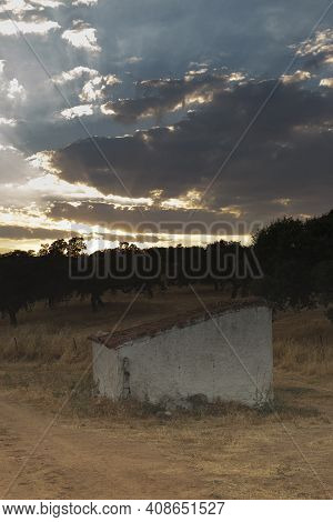 Water Well Of An Old Farm In The Middle Of The Countryside Of The Sierra Of Cordoba Andalusia At Sun
