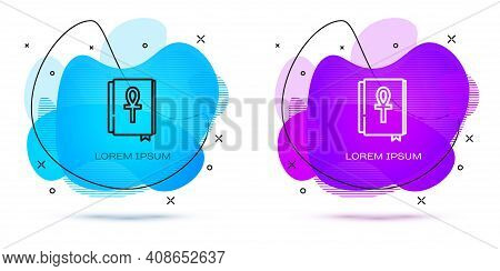Line Cross Ankh Book Icon Isolated On White Background. Abstract Banner With Liquid Shapes. Vector