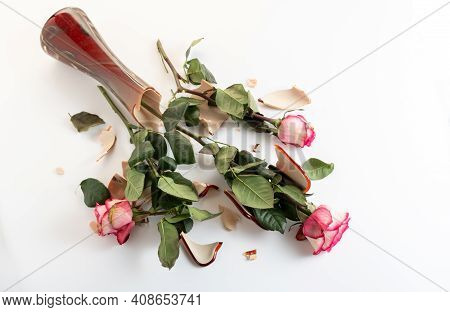 Broken Roses In A Broken Vase. Broken Flowers On The Floor. Broken Vase On The Floor. Top.