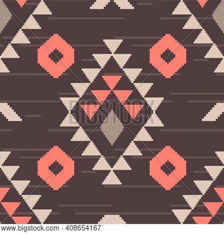 Native American Seamless Pattern. Aztec Navajo Tribe Indian Art. Peru Brown Boho Geometric Vector Ba