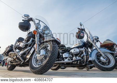 Kazan, Russia-september 26, 2020: Harley Davidson Motorcycles Standing In The Parking Lot During A M