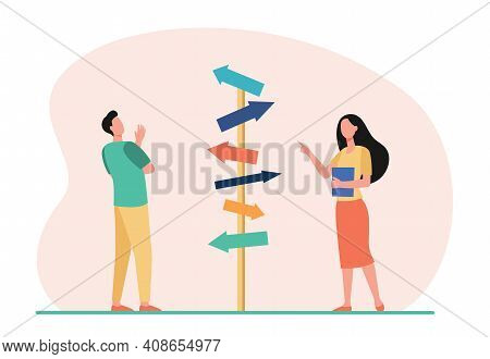 Pensive Man And Woman Choosing Direction. Arrow, Path, Business Flat Vector Illustration. Decision A