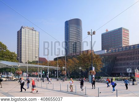 Dortmund, Germany - September 16, 2020: People Visit Downtown Dortmund, Germany. Dortmund Is The Lar