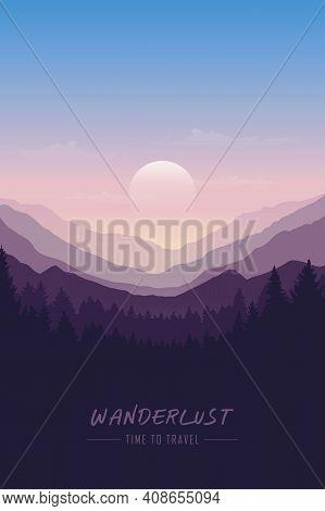 Wanderlust Wilderness Mountain Nature Landscape Vector Illustration Eps10