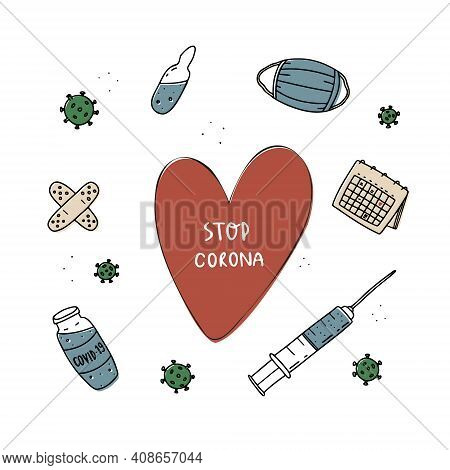 World Coronavirus Vaccination. Vaccination Against Covid-19. Corona Vaccine Bottle And Syringe, Inje