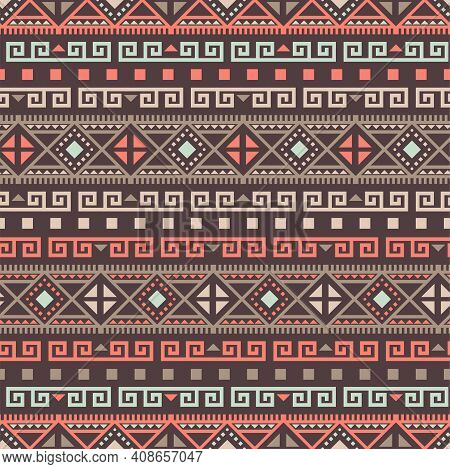 Native American Seamless Pattern. Aztec Navajo Tribe Indian Art. Peru Brown Boho Geometric Vector Ba