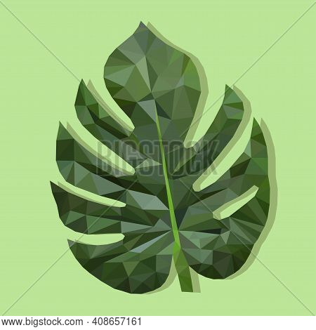 Monstera Is A Vector Sheet On A Square Background. A Sheet In The Triangulation Technique. Label Des