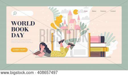 Book Market, Fair, Or Online Reading Concept. Smart Woman Reading Book. World Book Reading Or Litera