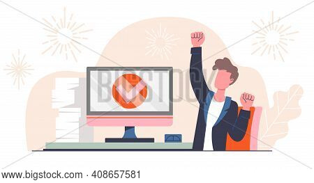 Completed Task Concept. Young Male Manager Completed Task And Triumphing With Raised Hand. Successfu