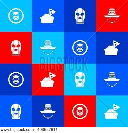 Set Mexican Skull Coin, Nachos Bowl, Wrestler And Sombrero Icon. Vector