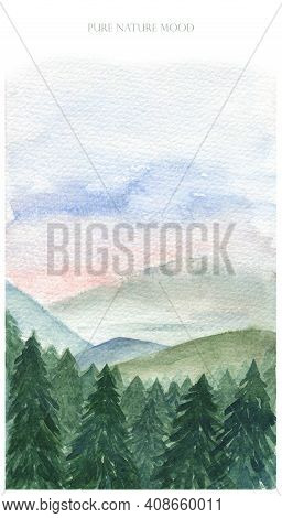 Pine Forest In Front, Mountain Background. Watercolor Landscape