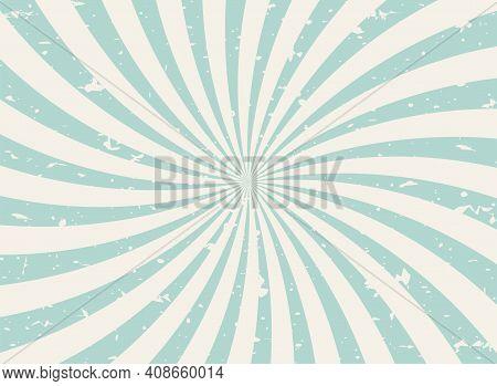 Sunlight Wide Spiral Grunge Background. Green And Beige Retro Background. Vector Horizontal Illustra