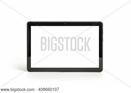 Tablet Pc Horizontal Isolated On White, Front View , Include Clipping Path