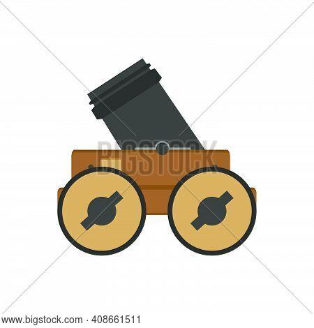 Military Artillery Cannon Army Weapon Gun Vector Illustration. Isolated White Artillery Cannon Wheel