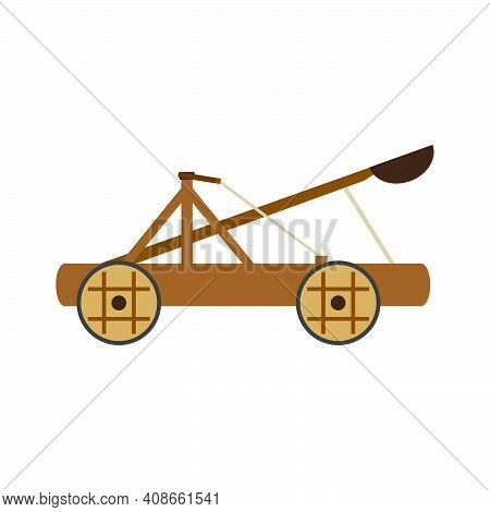War Catapult Weapon Vector Illustration Ancient Wooden Isolated Icon. Medieval Catapult Slingshot Ba