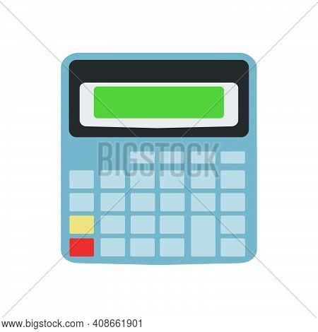 Calculator Mathematic Finance Icon With Button Vector Illustration Display. Business Calculator Offi