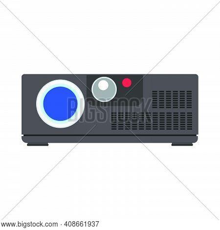 Video Projector Cinema Vector Illustration Equipment Icon. Film Movie Video Projector Black Sign. En