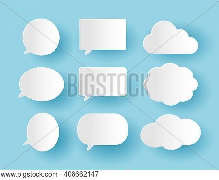Set Of Communication Bubbles In Paper Cut Style On The Blue Background, Banners Template Ready For U