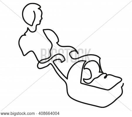 One Line Drawing Of Woman Pushing Stroller. One Continuous Line Drawing Of  Mom Walking With Baby In