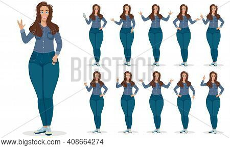 Large Set Of Hand Gestures By A Young Woman Isolated On White Showing The Full Figure, Colored Vecto