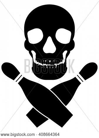 Skull and Bowling Pins Silhouette with Clipping Path isolated on White