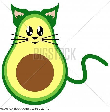 Avocado Cat Avacato Funny Illustration Isolated on White with Clipping Path