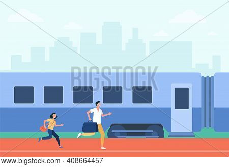 Father And Daughter Running To Train With Bags. Wagon, Travel, Hurry Flat Vector Illustration. Trans
