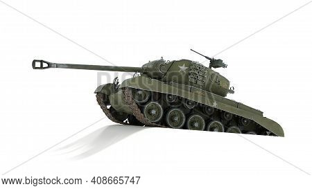 Tank Of The Us Army World War Ii And Korean War. Gun Depression. Isolated Background. 3d Rendering.