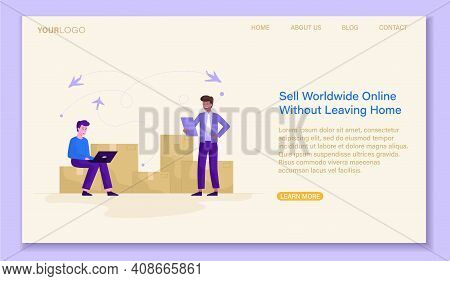 Sell Worldwide Online Concept Concept. Online Trade Relations, Worldwide Cargo Delivery. Website Or