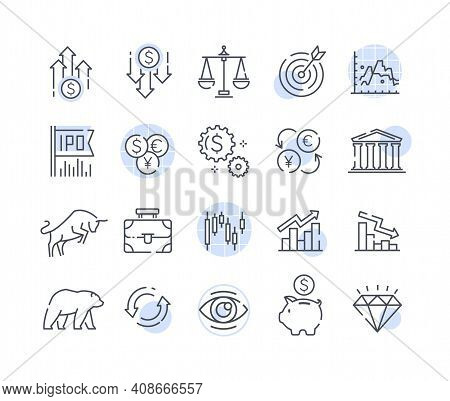 A Simple Set Of Stock And Financial Icons. Contains Icons Such As Ipo, Portfolio, Money Management,