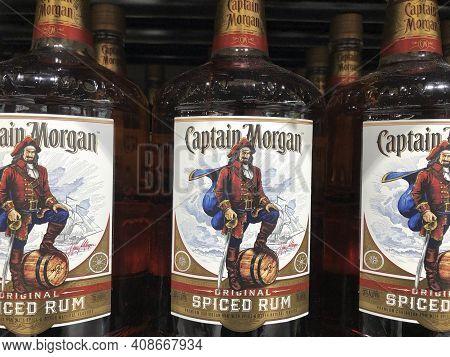 Indianapolis - Circa February 2021: Captain Morgan Rum Display. Captain Morgan Rum Is Part Of Diageo