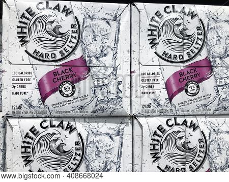 Indianapolis - Circa February 2021: White Claw Hard Seltzer Display. In 2019, White Claw Accounted F