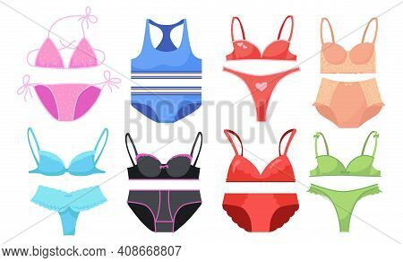Underwear For Women Set. Colorful Laced Bikini, Bras And Panties Isolated On White. Vector Illustrat