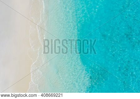 Calm Sea Beach Aerial View. Tropical Island Beaches And Sea Shore Top View. Drone Perspective Beach