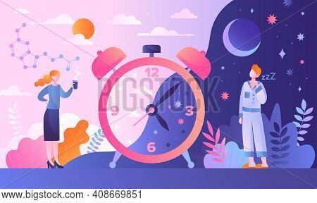 Circadian Rhythm Concept With Tiny Characters. Day And Night Cycle Scheme. Daily Human Body Inner Re