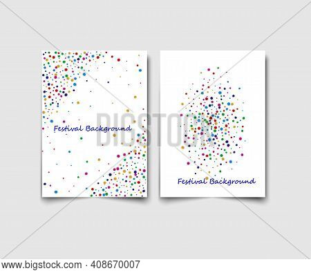 Set Of Two Vector Templates With Multicolored Glitter On A White Background.