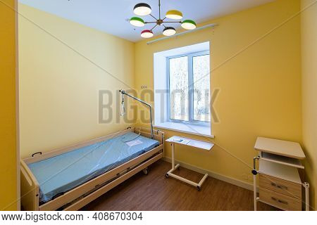 Clean Empty Hospital Or Room With New Bed That Is Ready For One Patient
