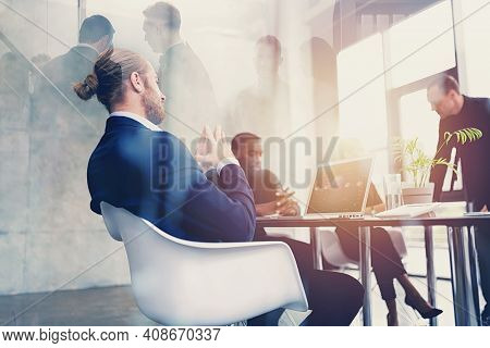 Hipster Business Man In Elegant Suit Is On Business Meeting In The Office. Double Exposure Effects