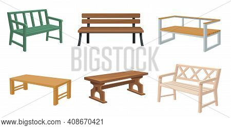 Various Wooden Garden And City Benches Flat Set For Web Design. Cartoon Outdoor Wicker Benches Isola