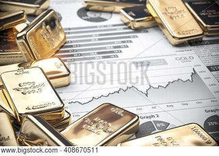 Growth of gold on stock market concept. Gold bar and ingots on chart of financial report. 3d illustration