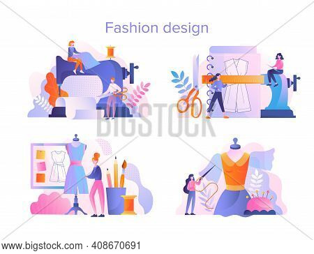 Set Of Four Fashion Design And Tailoring Scenes Showing A Seamstress And Tailor Sewing And Manufactu