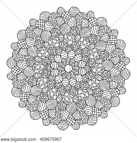 Happy Easter - Eggs Mandala Coloring Page For Kids And Adults Stock Vector Illustration. Funny Egg B